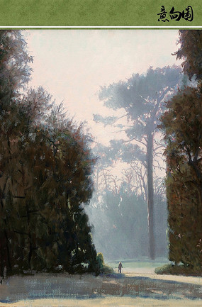 朦胧的森林油画