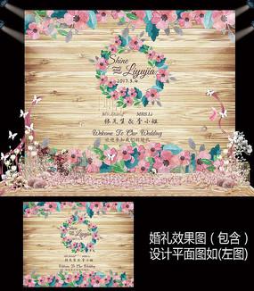 粉色花卉木纹婚礼甜品台