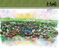 世界园艺博览会园内展区手绘