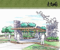 武夷茶博园广场廊架手绘