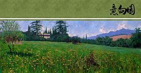 一片草地油画意向图