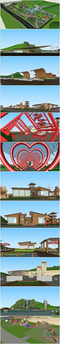 农业公园建筑景观方案su模型