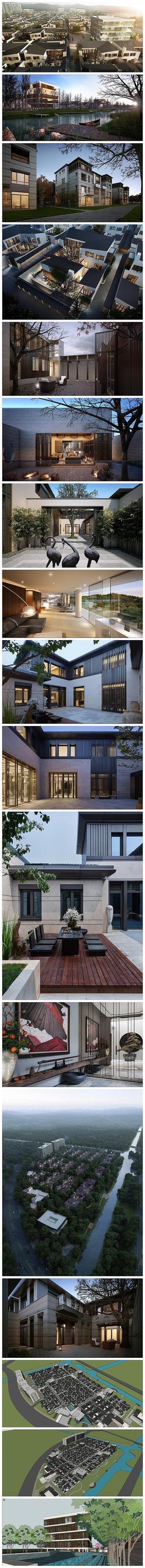 现代府邸建筑规划su模型效果