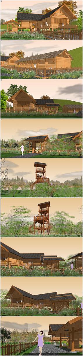 新农村农家乐生态果园SU模型