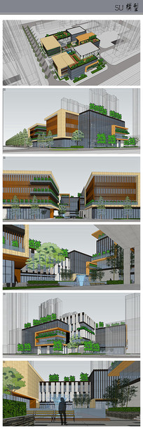 创意生态办公建筑模型