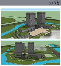 绿化景观办公大楼模型