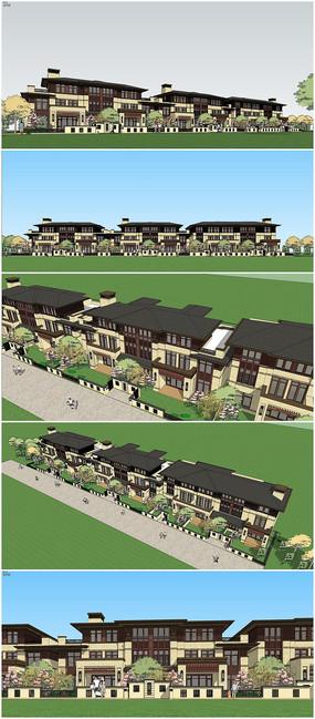 新中式联排别墅建筑su模型