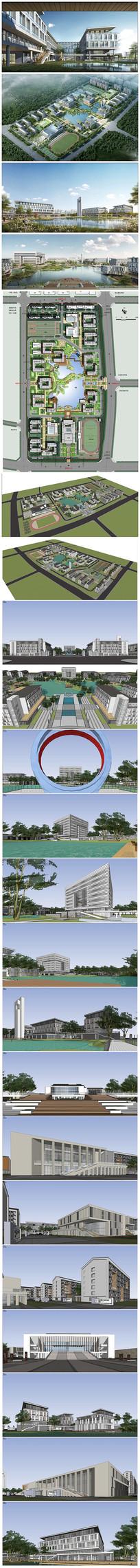 徽派中式职业规划建筑SU模型