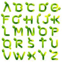 绿色环保绿叶字体样式艺术字