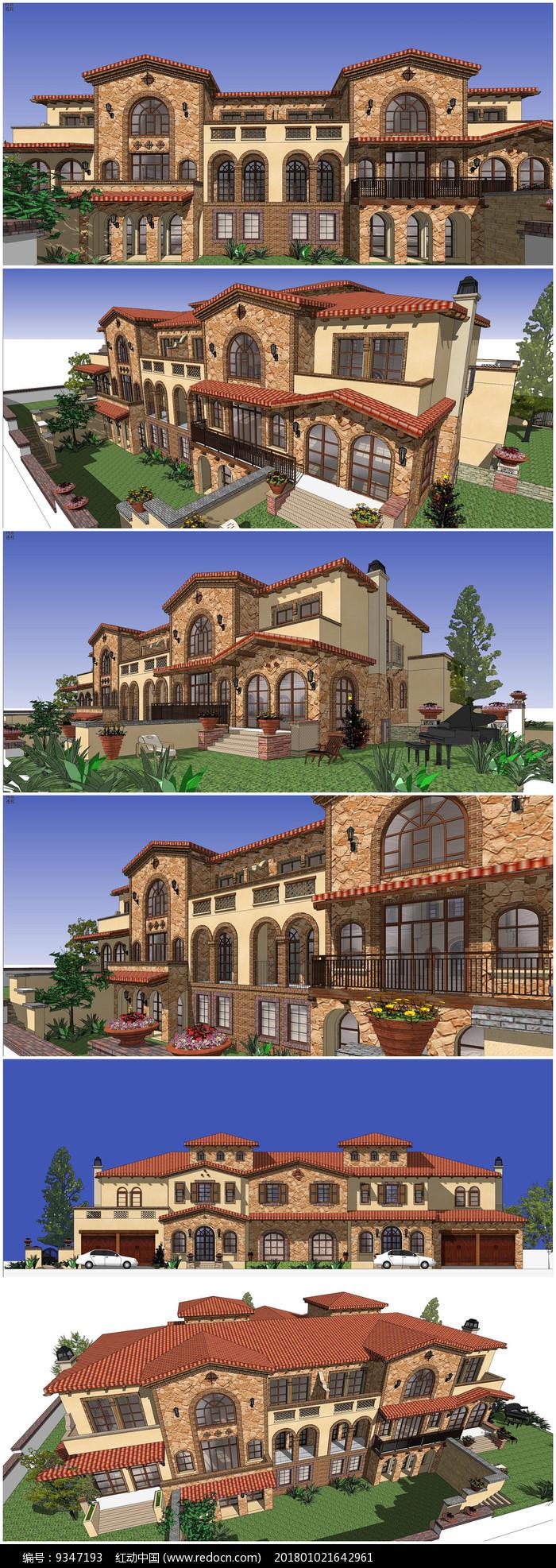 叠拼别墅建筑景观设计SU模型图片