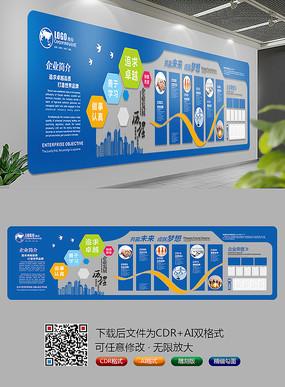蓝色企业文化墙展板 CDR
