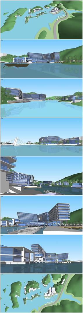 仙岛湖商业度假酒店SU模型