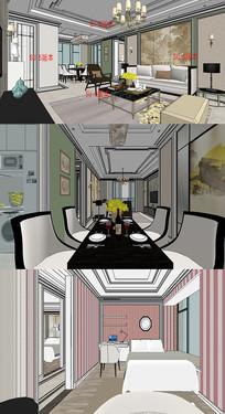 美式古典住宅su模型