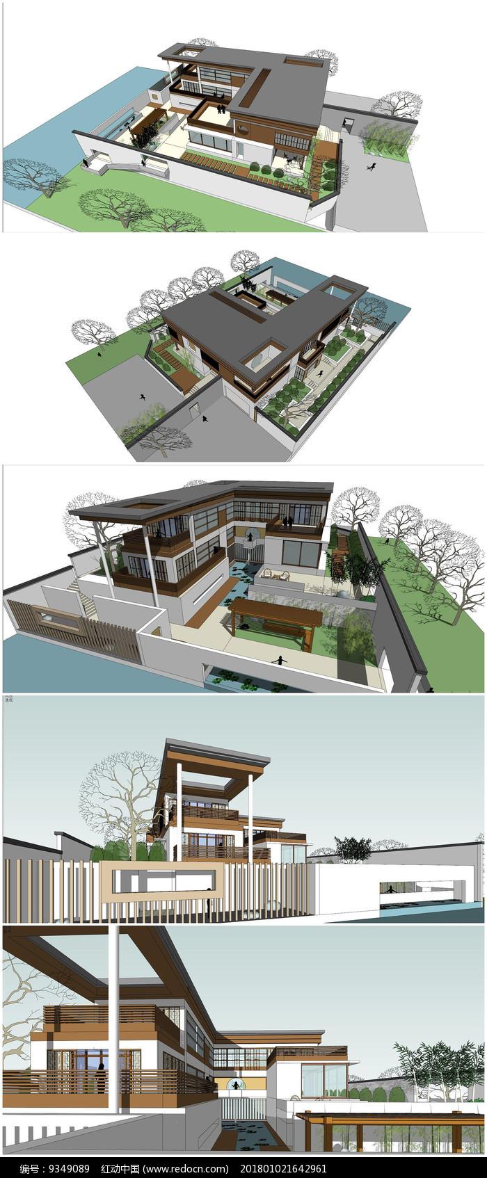 现代中式别墅建筑景观su模型图片