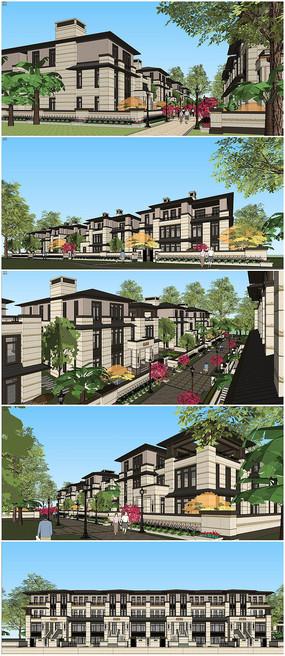 新亚洲风格别墅建筑SU模型