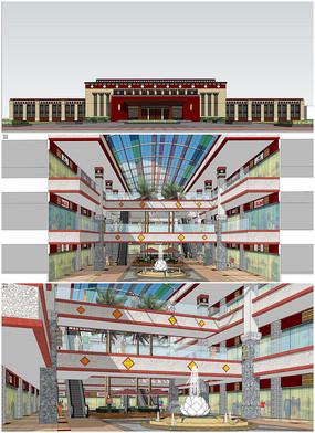 中庭建筑室内外建筑SU模型
