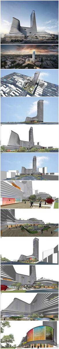 中央广场办公楼SU模型效果图