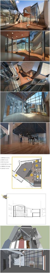 现代展厅SU模型及效果图