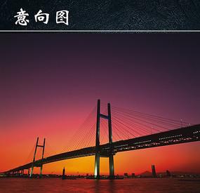 城市景观跨海大桥夜景