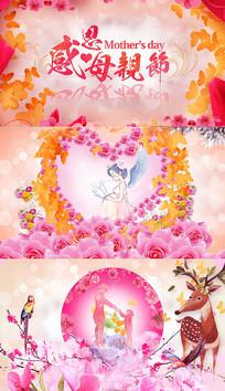 母亲节温馨幸福花瓣AE模板