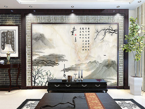 大理石新中式电视背景墙