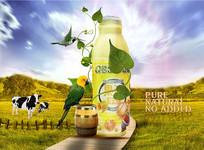 牛奶果汁海报设计
