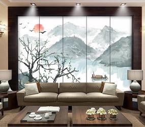 水墨新中式电视背景墙