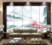新中式桃花电视背景墙