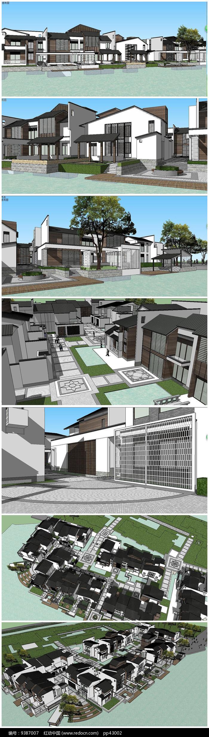 新中式风格别墅建筑SU模型图片