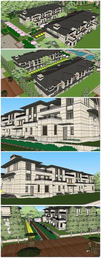 草原风格联排别墅建筑SU模型