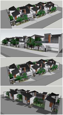 中式风格联排别墅建筑SU模