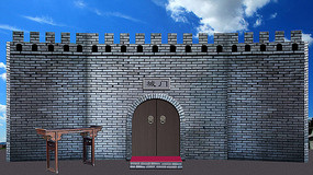 小品城门问斩断头台城墙