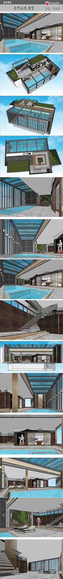 会所泳池SU模型