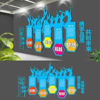 大气蓝色企业精神文化墙