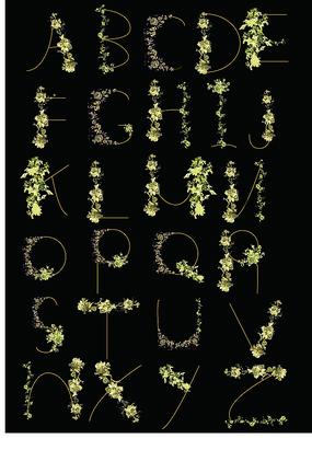 金色玫瑰英文字體矢量圖