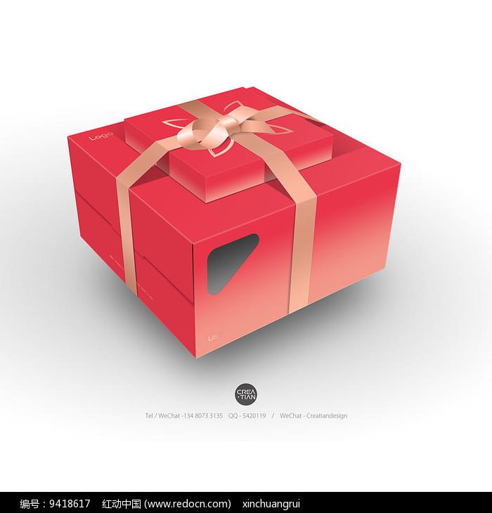 蛋糕盒套装立体效果图图片