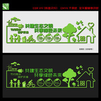 社区学校环保文化墙展板