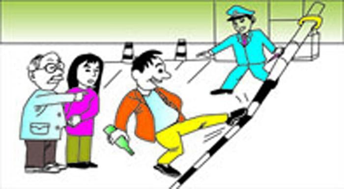 铁路安全插画-禁止破坏拦路杠