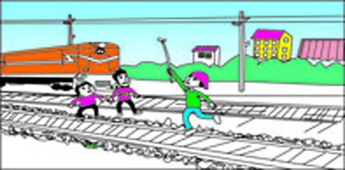 铁路安全插画-禁止触碰铁路高压线