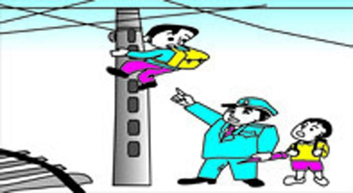 铁路安全插画-禁止攀爬铁路高压电杆