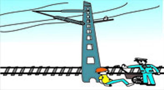 铁路安全插画-禁止破坏铁路高压电杆