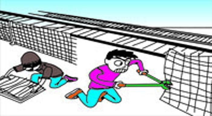 铁路安全插画-禁止偷盗破坏铁路防护栏