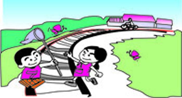 铁路安全插画-禁止在铁轨上玩耍