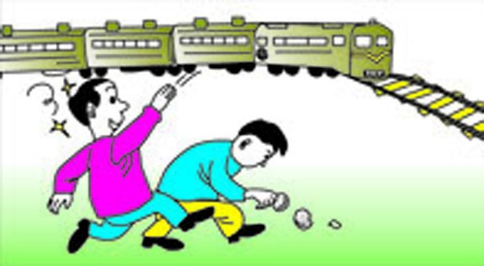 铁路安全插画-禁止在铁路边玩耍
