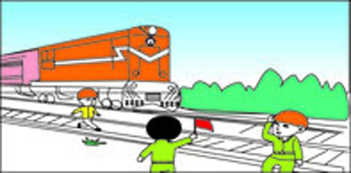 铁路安全插画-遵守铁路指挥