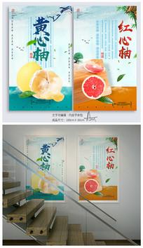 简约小清新柚子海报