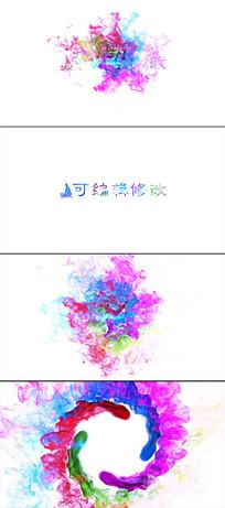 彩色粒子水墨烟雾标志展示模板