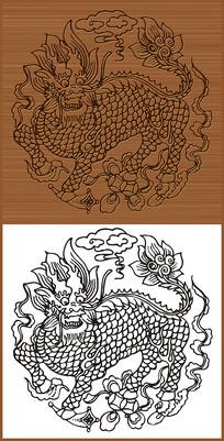 龙麒麟神兽矢量图素材