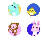 日式风格卡通动物插画AI矢量