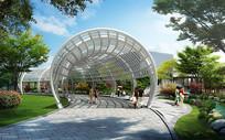 现代风格弧形钢构廊架